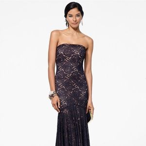 Cache Lace Metallic Strapless Mermaid Gown